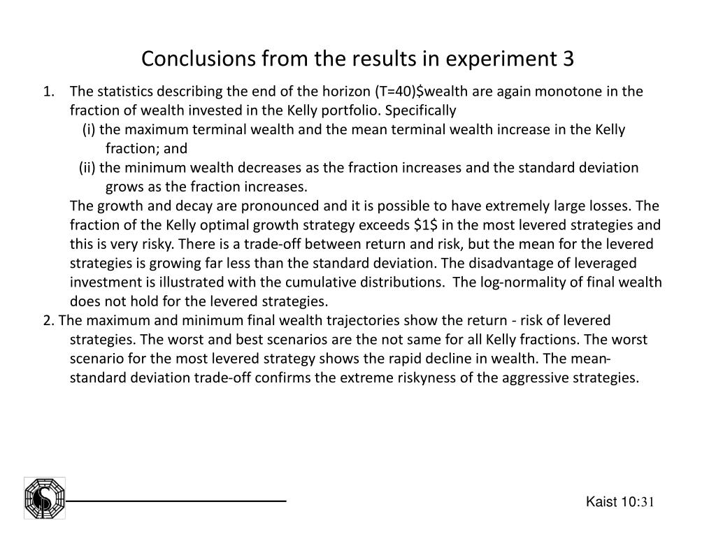 Conclusions from the results in experiment 3