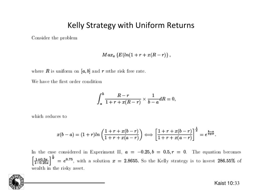 Kelly Strategy with Uniform Returns