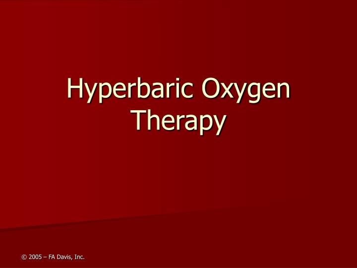 hyperbaric oxygen therapy n.