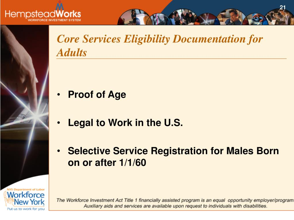 Core Services Eligibility Documentation for Adults