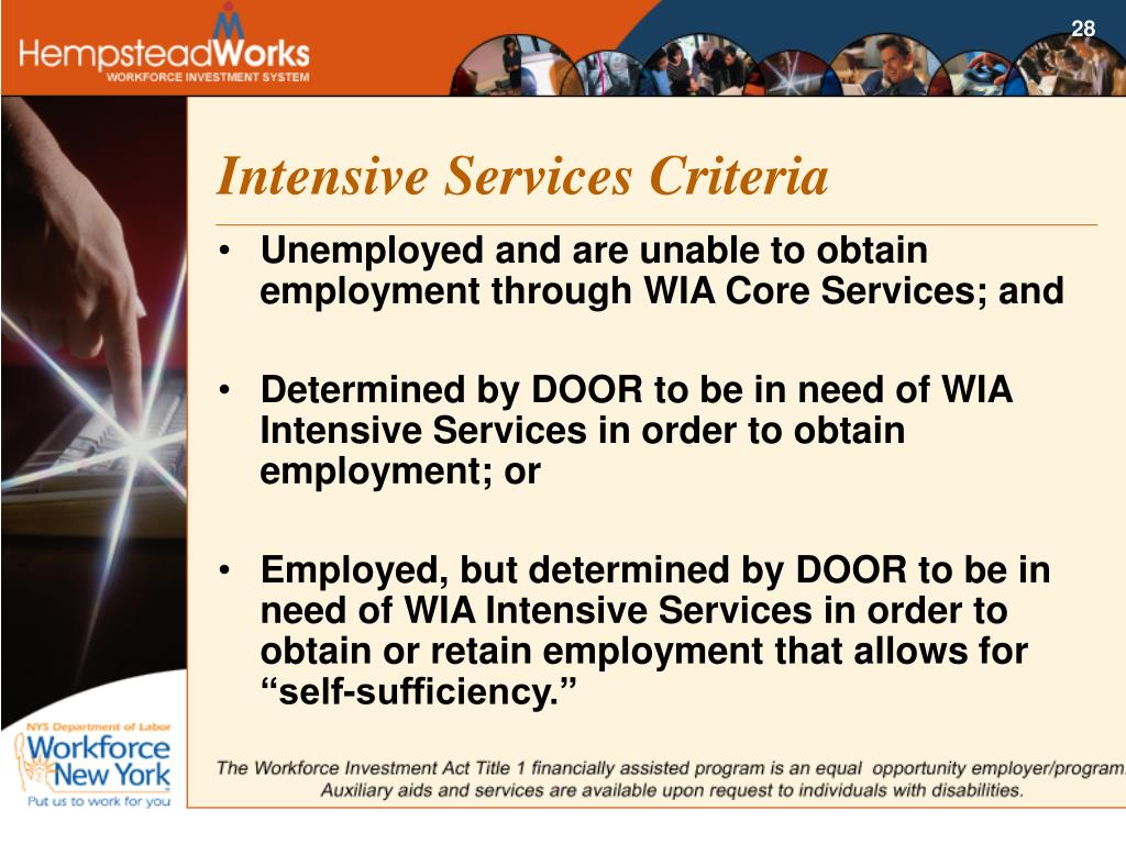 Intensive Services Criteria