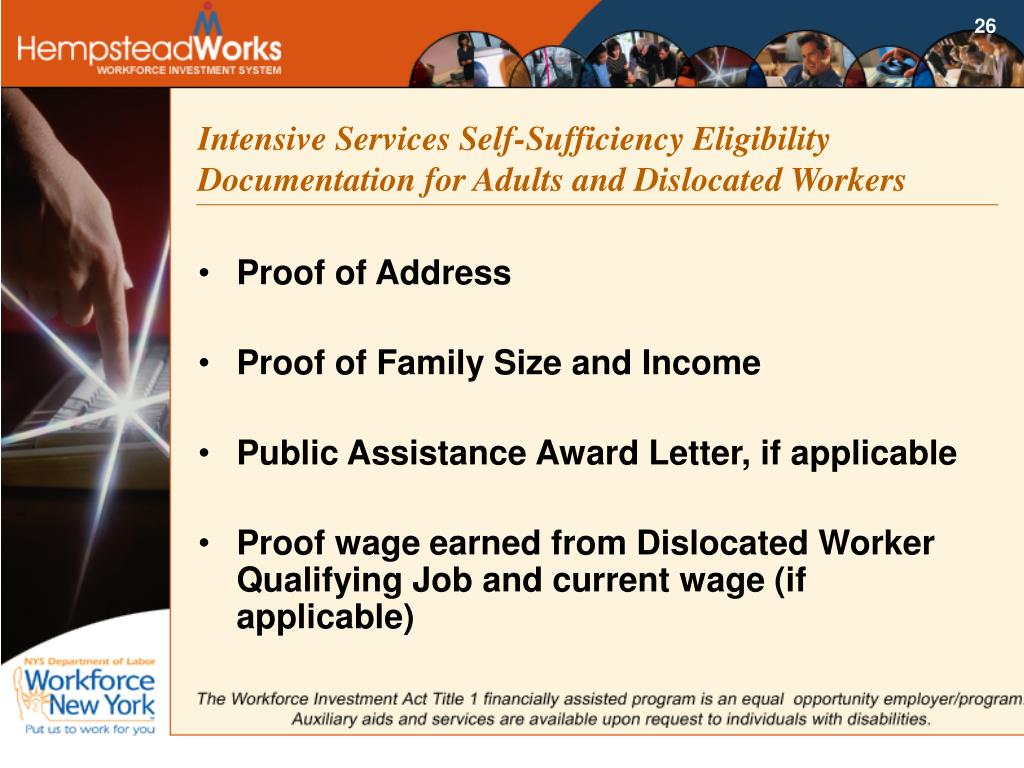 Intensive Services Self-Sufficiency Eligibility Documentation for Adults and Dislocated Workers