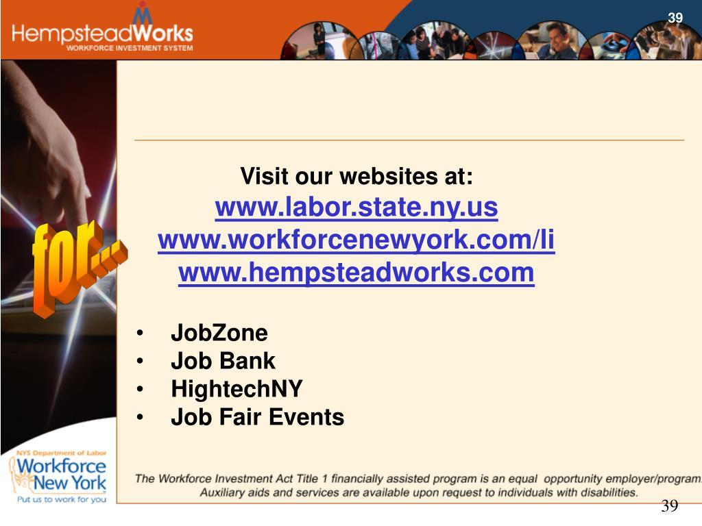 Visit our websites at:
