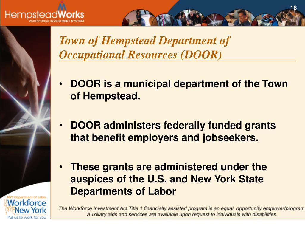Town of Hempstead Department of Occupational Resources (DOOR)