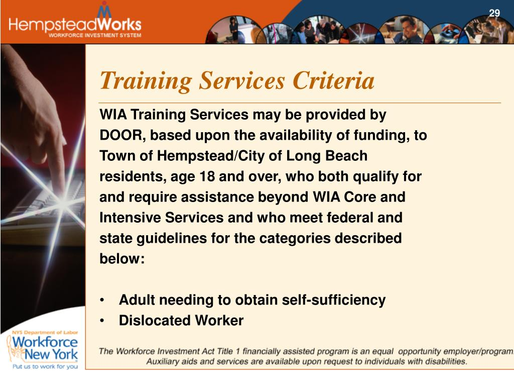 Training Services Criteria