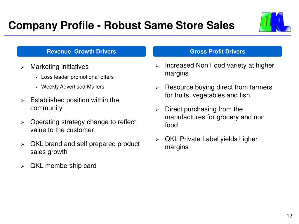 Company Profile - Robust Same Store Sales