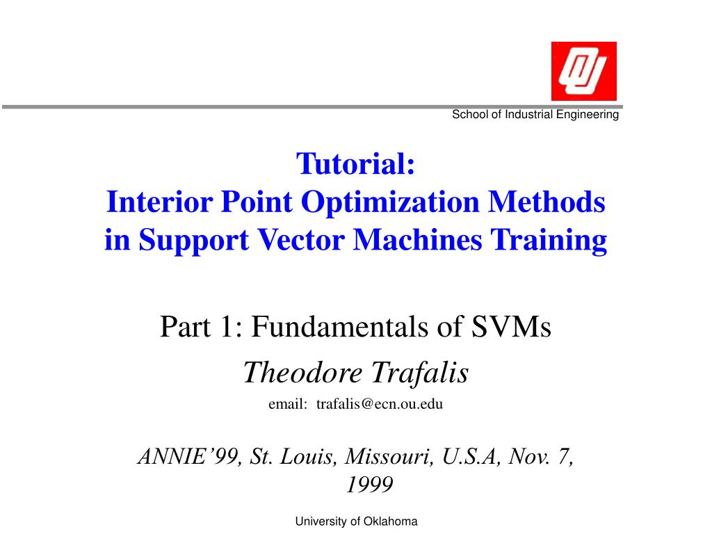 tutorial interior point optimization methods in support vector machines training l.