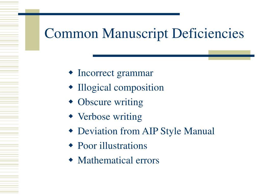 Common Manuscript Deficiencies