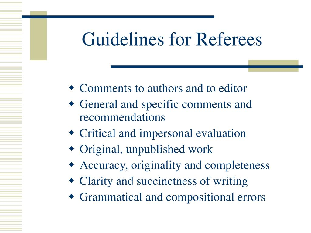 Guidelines for Referees