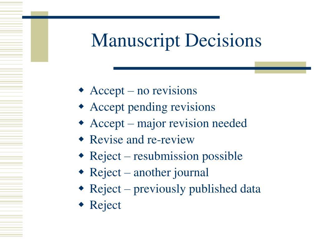 Manuscript Decisions