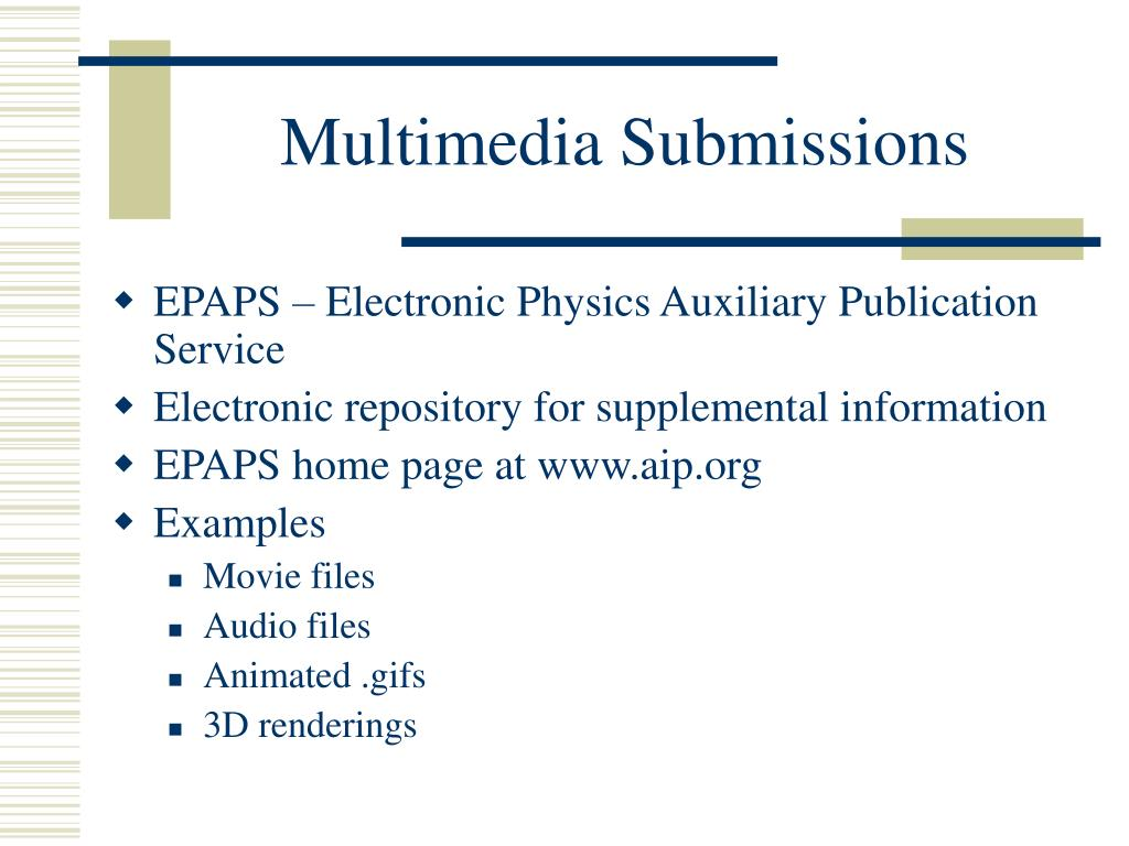 Multimedia Submissions