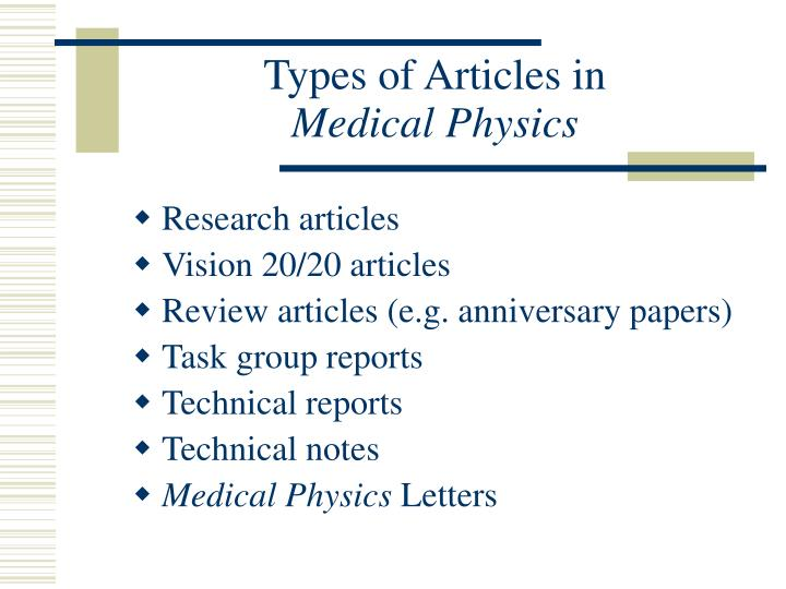 Types of articles in medical physics