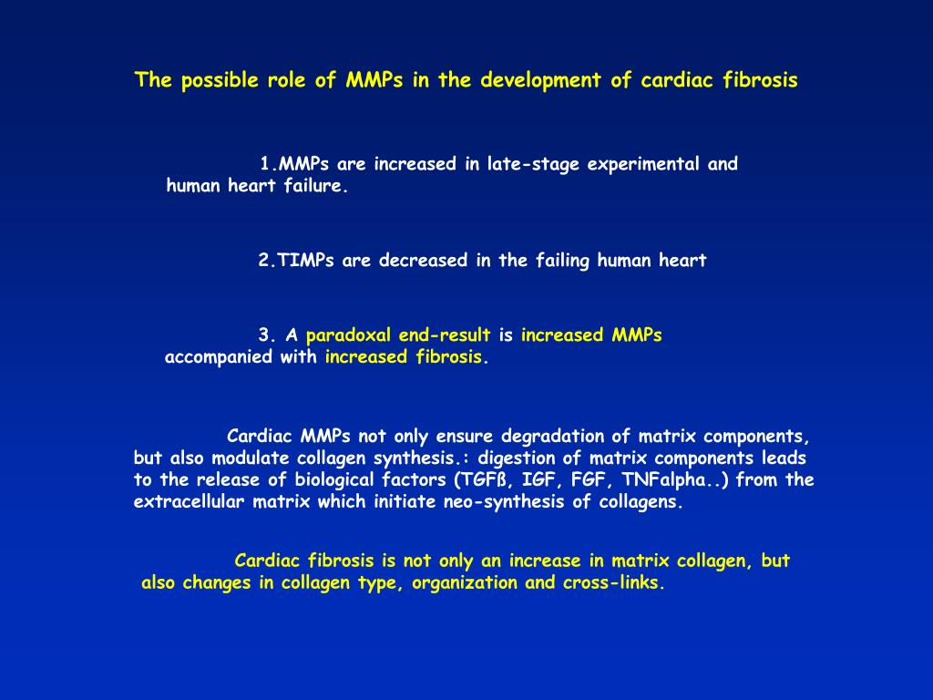 The possible role of MMPs in the development of cardiac fibrosis