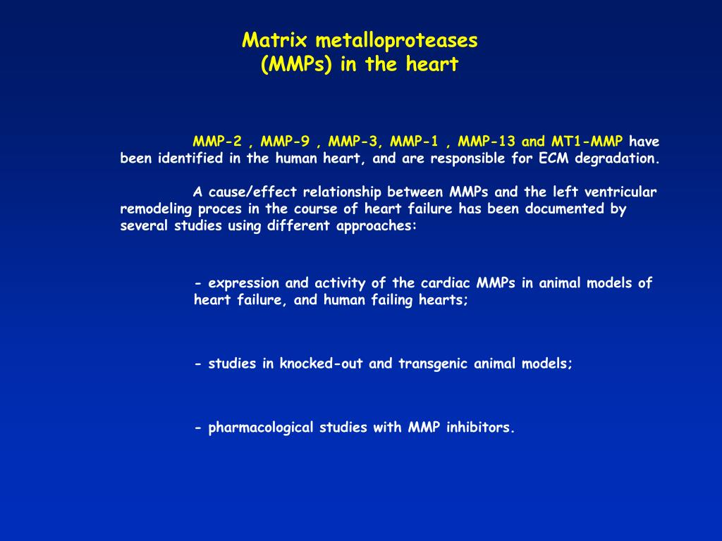 Matrix metalloproteases (MMPs) in the heart