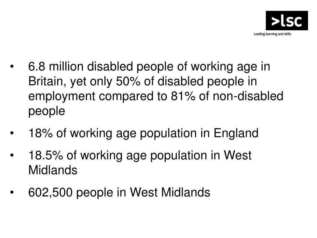6.8 million disabled people of working age in Britain, yet only 50% of disabled people in employment compared to 81% of non-disabled people