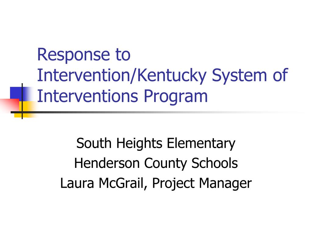 response to intervention kentucky system of interventions program