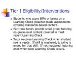tier i eligibility interventions