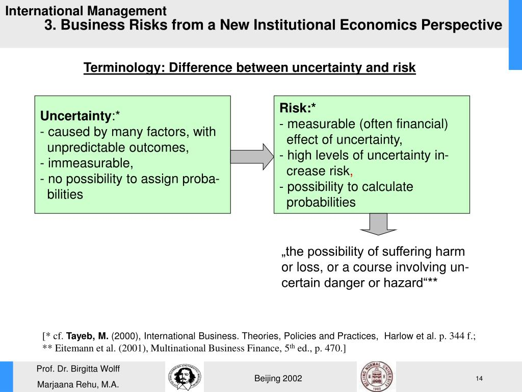3. Business Risks from a New Institutional Economics Perspective