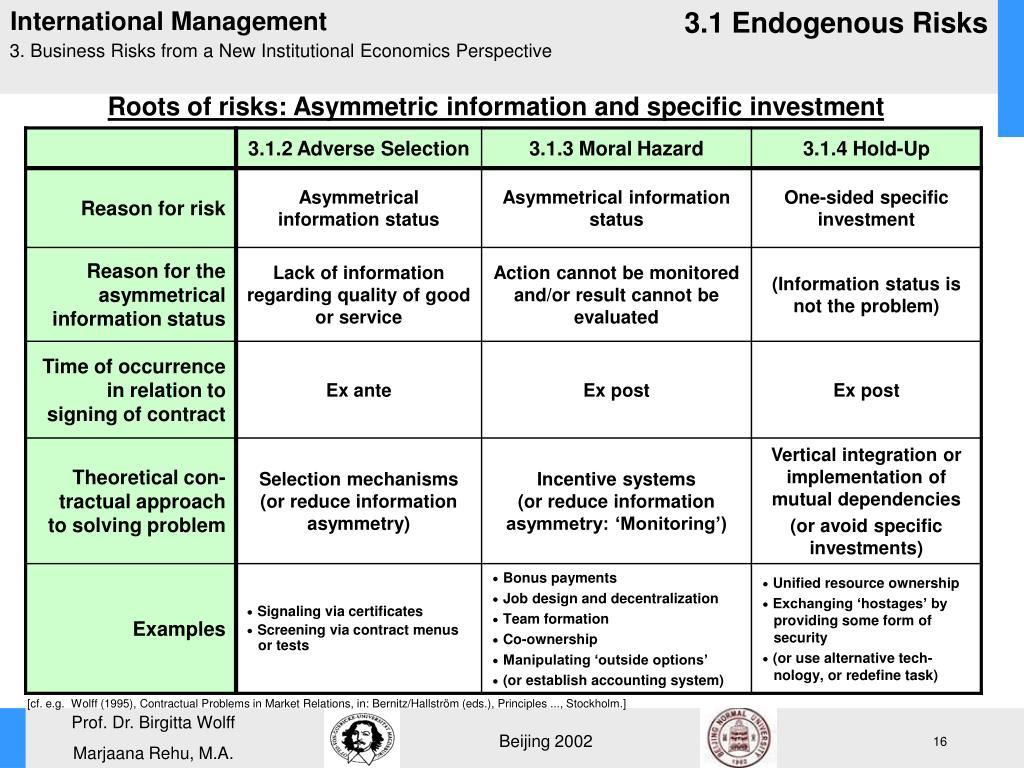 3.1 Endogenous Risks
