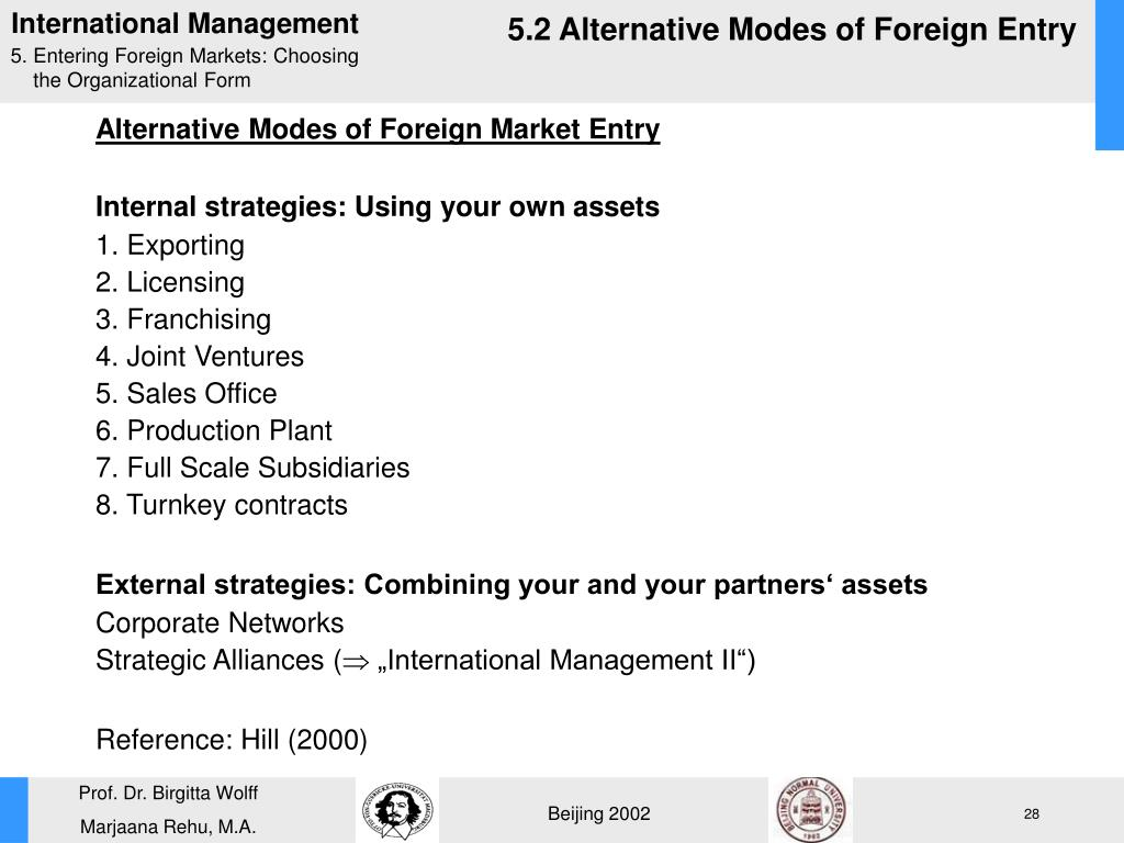 5.2 Alternative Modes of Foreign Entry