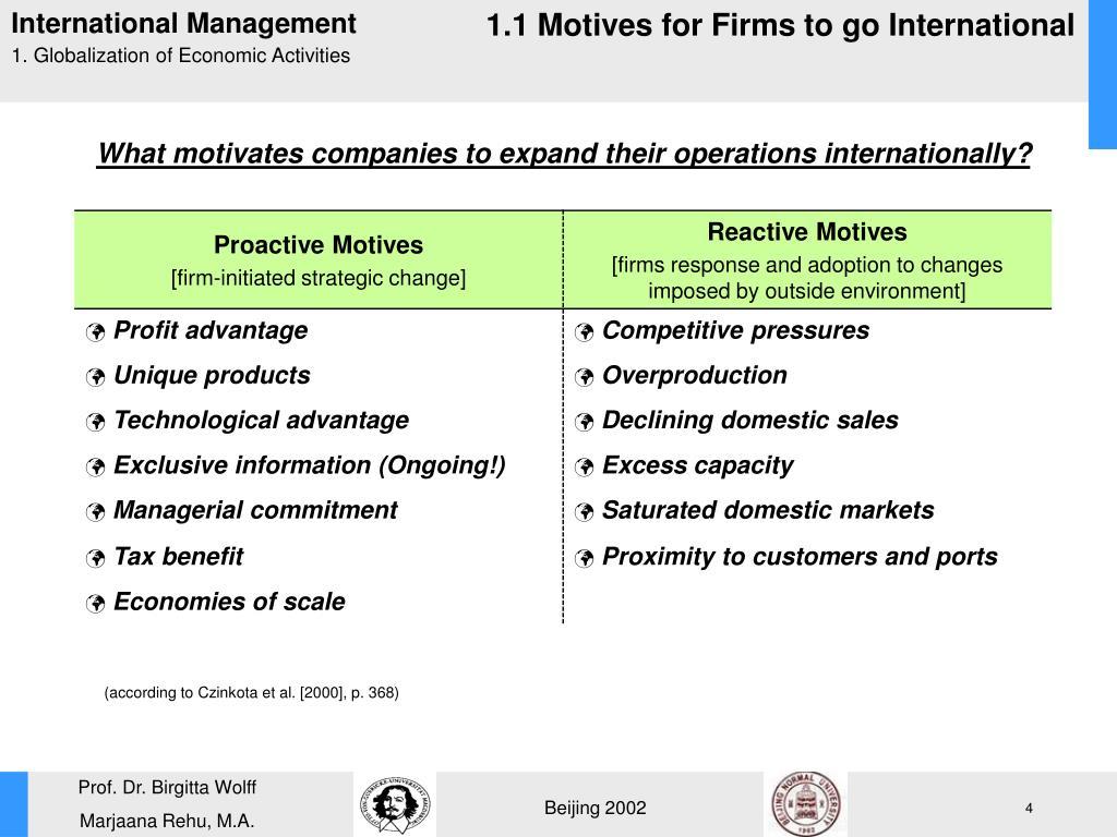 1.1 Motives for Firms to go International