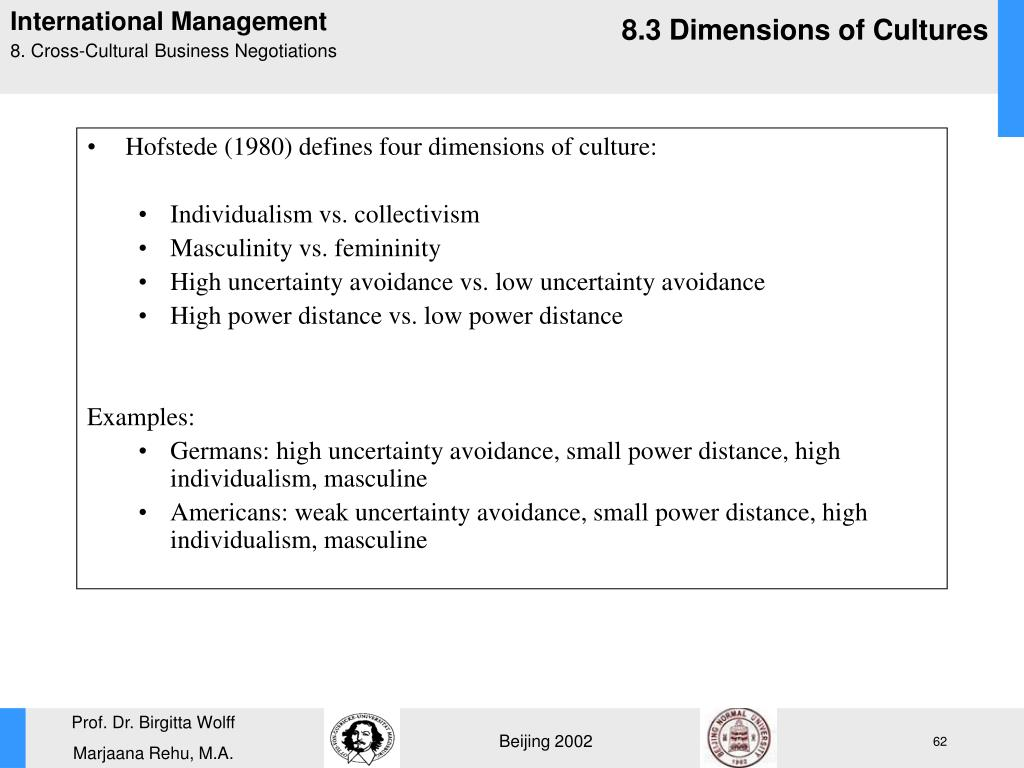Hofstede (1980) defines four dimensions of culture: