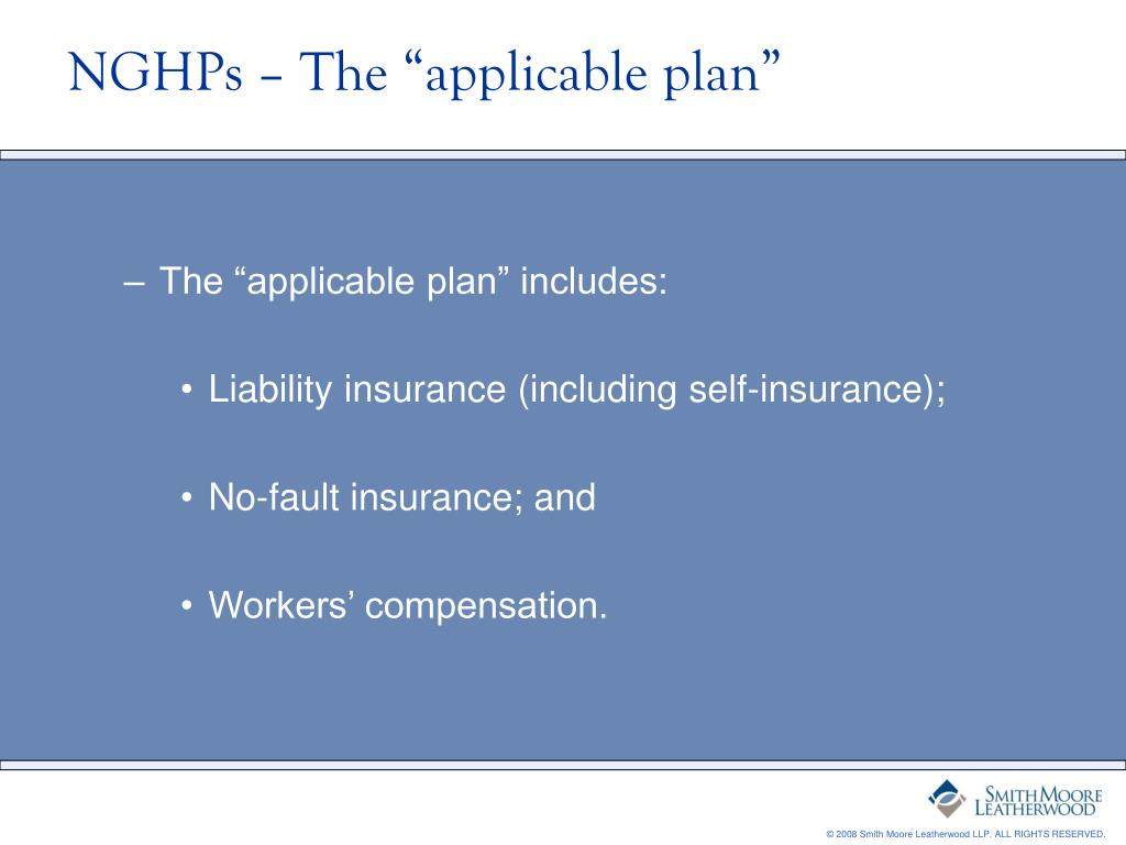 """NGHPs – The """"applicable plan"""""""