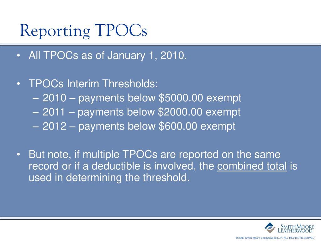 Reporting TPOCs