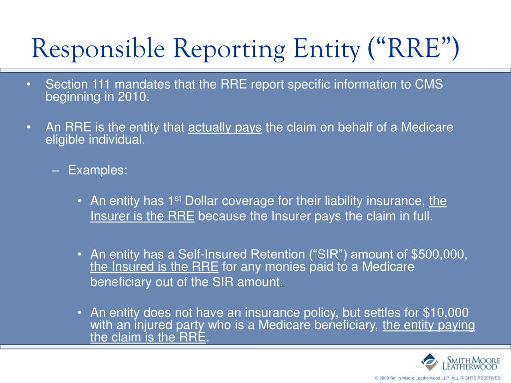 """Responsible Reporting Entity (""""RRE"""")"""