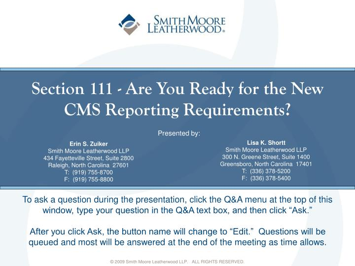 Section 111 are you ready for the new cms reporting requirements