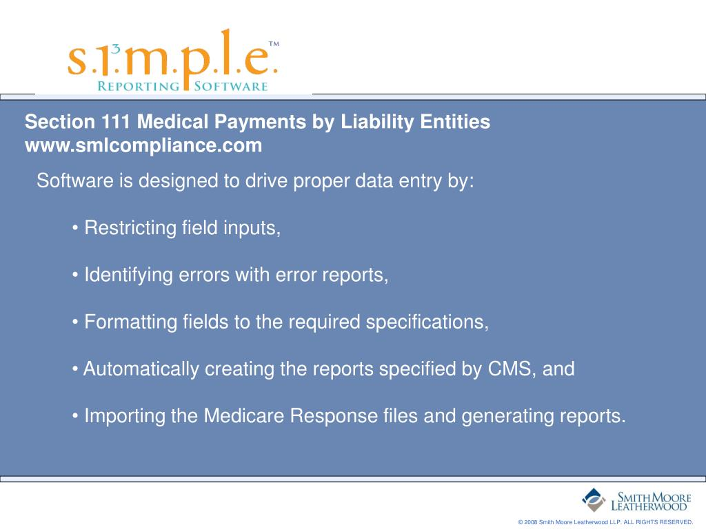 Section 111 Medical Payments by Liability Entities