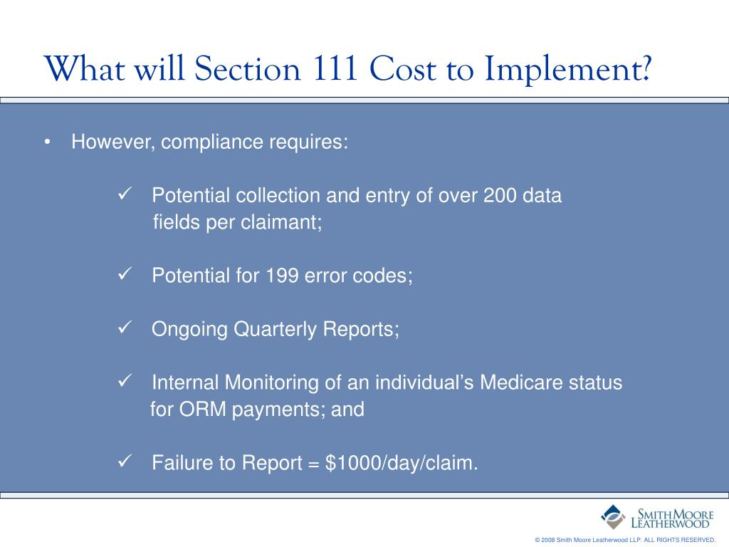 What will Section 111 Cost to Implement?