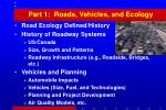 part 1 roads vehicles and ecology