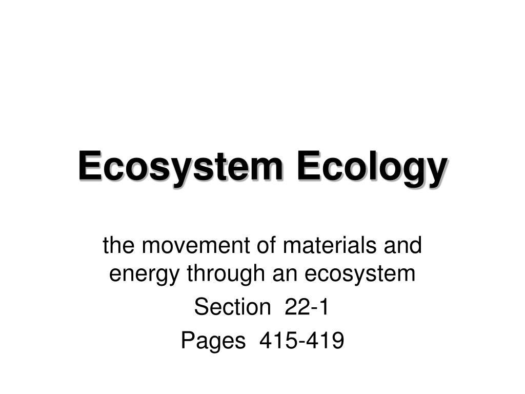 ecosystem ecology l.