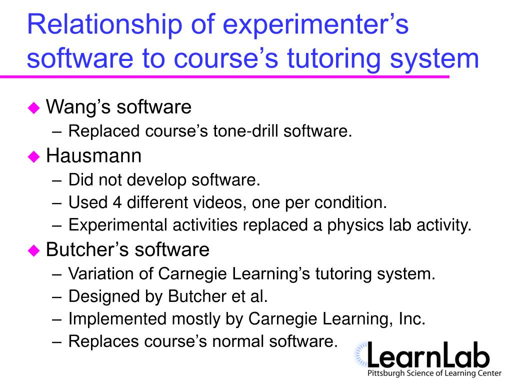 Relationship of experimenter's software to course's tutoring system