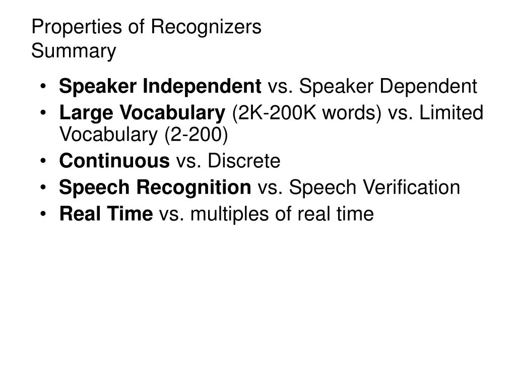 PPT - Speech Recognition PowerPoint Presentation - ID:382072