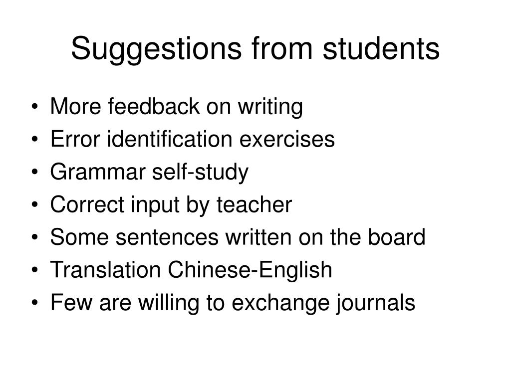 Suggestions from students