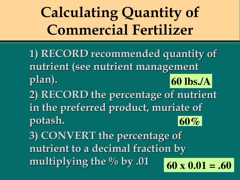 Calculating Quantity of Commercial Fertilizer