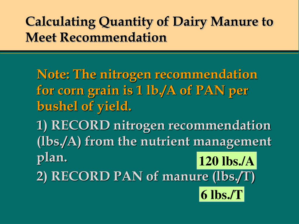 Calculating Quantity of Dairy Manure to Meet Recommendation