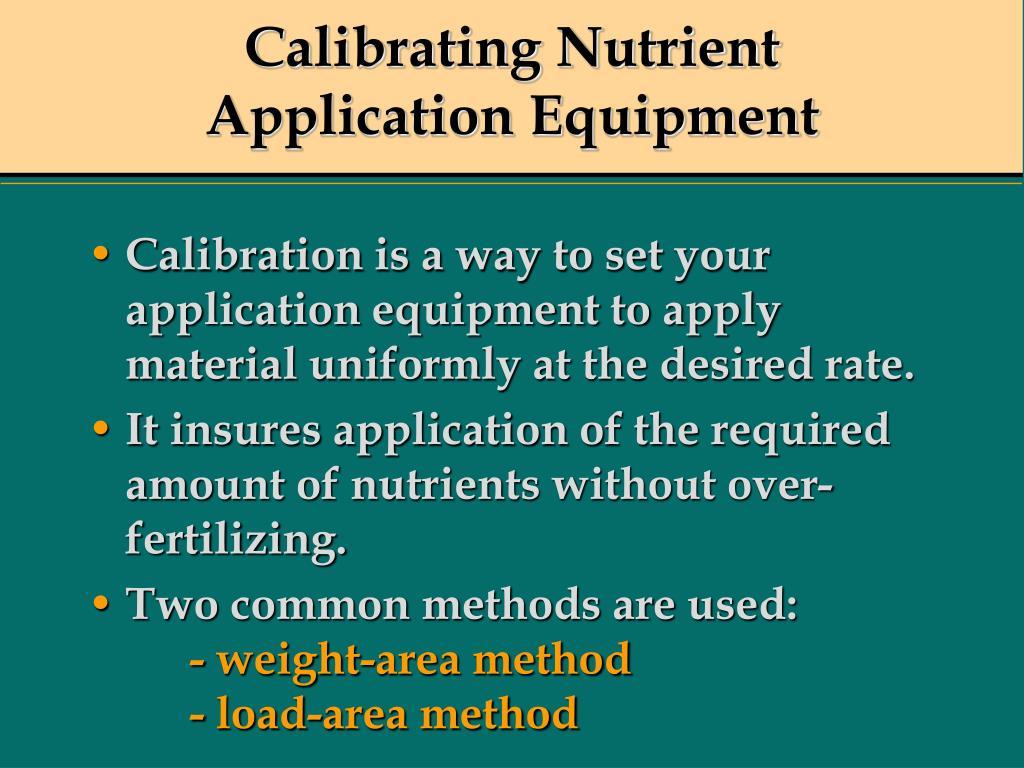 Calibrating Nutrient Application Equipment