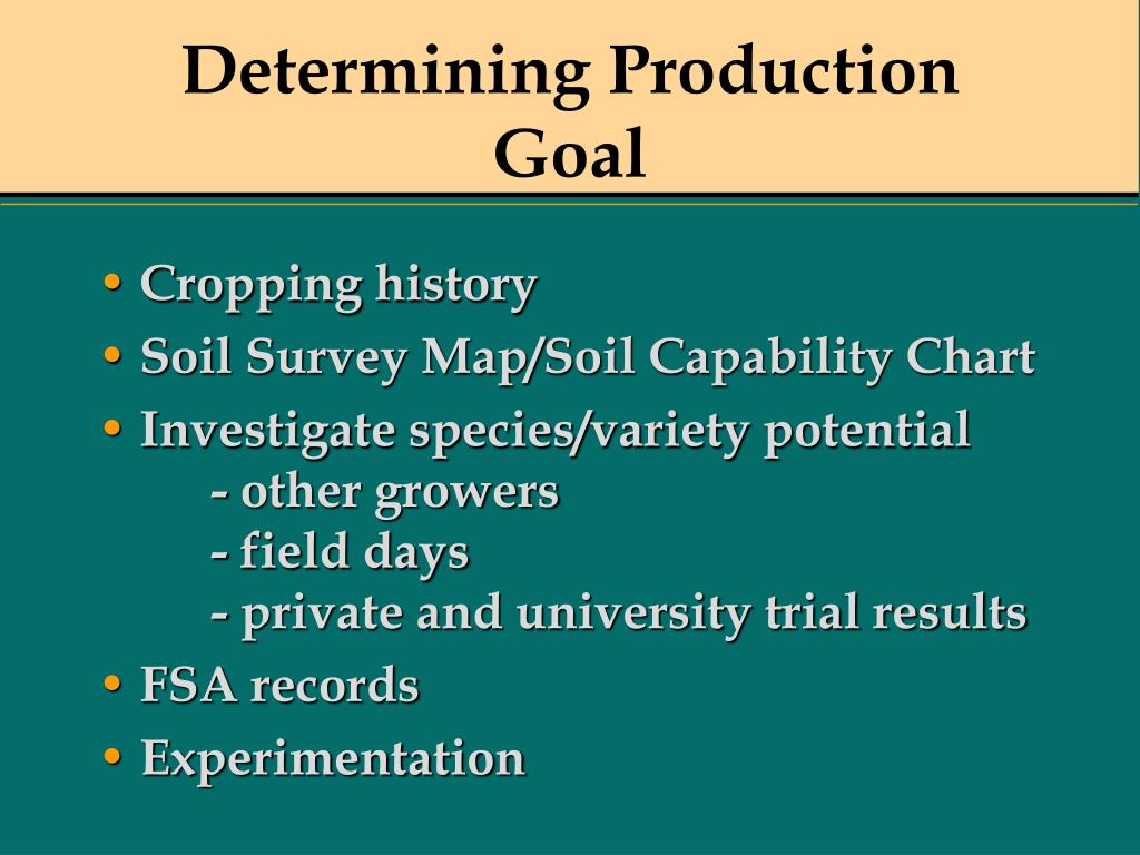 Determining Production Goal