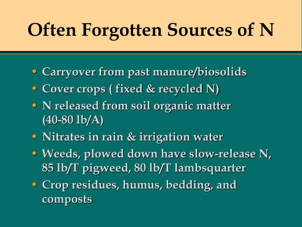 Often Forgotten Sources of N