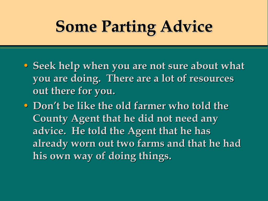Some Parting Advice