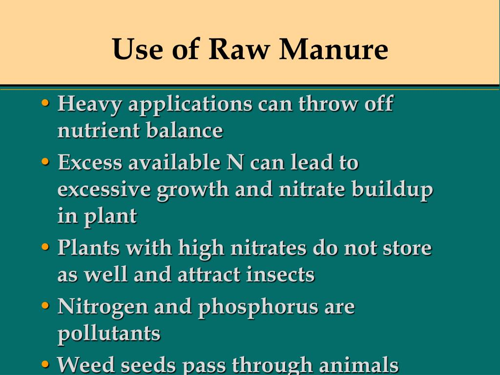 Use of Raw Manure