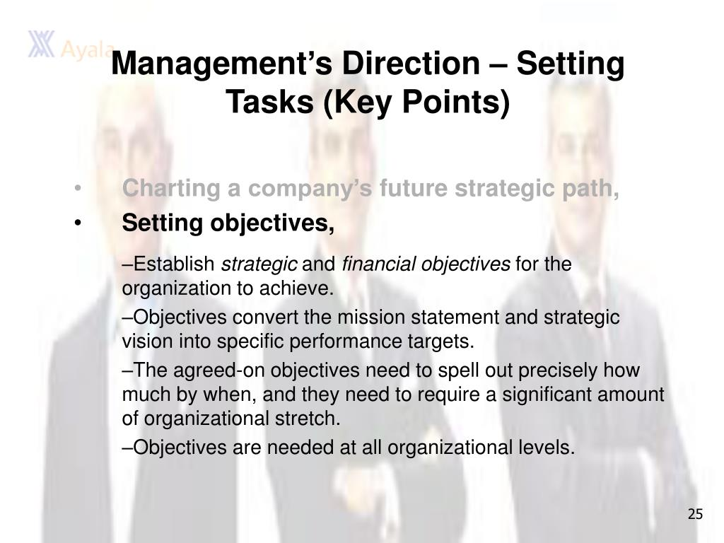 Management's Direction – Setting Tasks