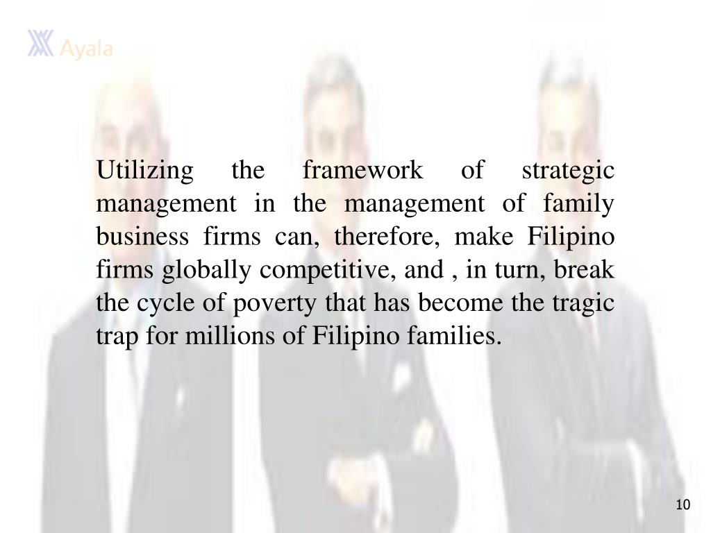 Utilizing the framework of strategic management in the management of family business firms can, therefore, make Filipino firms globally competitive, and , in turn, break the cycle of poverty that has become the tragic trap for millions of Filipino families.