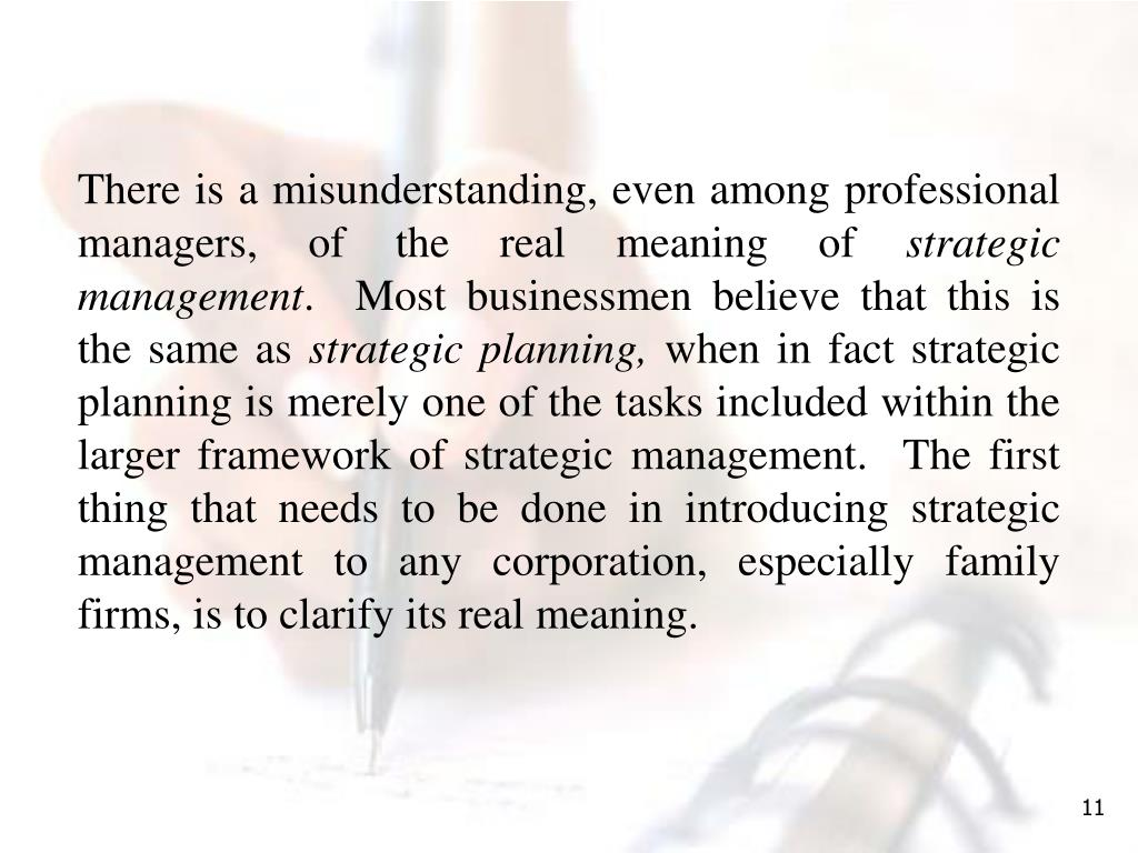 There is a misunderstanding, even among professional managers, of the real meaning of