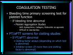 coagulation testing