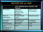 factor viii vs vwf