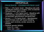 hemophilia clinical severity correlates with factor level